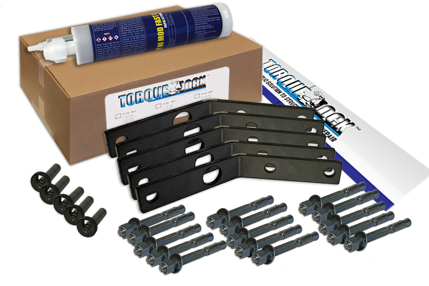 The TLR-45 Torque Lock Staple Kit. Used for repairing up to 5 feet of structural cracking in corners of concrete, gunite or solid cement structures. For pools, fountains, sea walls, foundations and more.