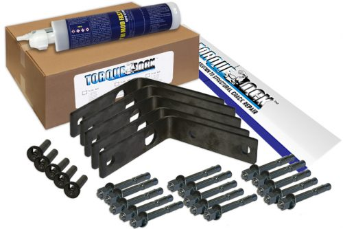 The TLR-90 Torque Lock Staple Kit. Used for repairing up to 5 feet of structural cracking in corners of concrete, gunite or solid cement structures. For pools, fountains, sea walls, foundations and more.